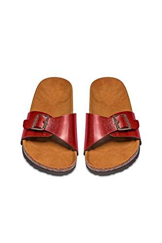 MisShow Damen Hochwertige Strand Sandalen stylische Pantolette mit Kork-Fußbett Rot 36