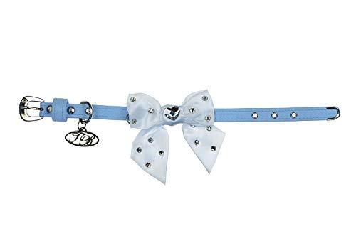 Trilly tutti Brilli Lia Collier pour Chien avec nœud orné de Swarovski Bleu Clair 35 cm