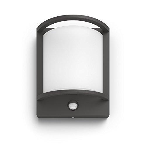 Philips myGarden Samondra - Lámpara LED de pared para exteriores con sensor de movimiento (antracita, 2700 K)