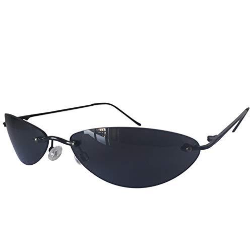 CCGSDJ Mini Randlose Sonnenbrille Männer Klassische Matrix Morpheus Ovale Brille Frauen Steampunk Film Eyewear Ultraleicht Dünner Rahmen