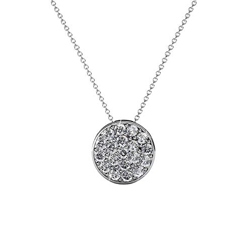 Cate & Chloe Nelly Valor White Gold Plated Pave Stone Necklace w/Swarovski Crystals, Modern Trendy Beautiful Round Cut Diamond Cluster Necklace, Wedding Statement Necklaces (Silver)