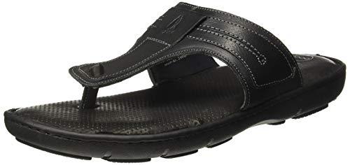 Hush Puppies Men's Track Thong Black Leather Slippers-10 UK (44 EU) (8746979)