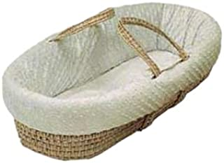 Baby Doll Bedding Heavenly Soft Toy Doll Moses Basket Set for Realistic Pretend Play for Little Girls, Minky Dot Ivory