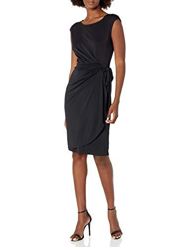 Amazon Brand - Lark & Ro Women's Women's Cap Sleeve Bateau Neck Wrap Dress, Black, L