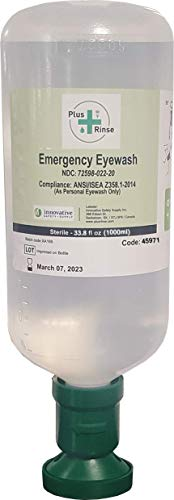 Plum Plus Rinse 45971-2 Sterile Saline Eyewash Bottle, 1000 mL, 3.5