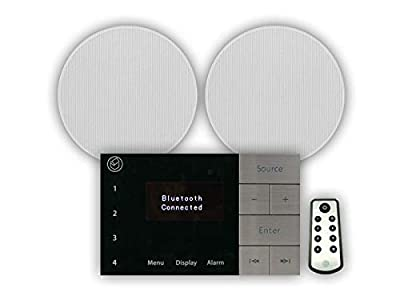 Systemline E100 FM DAB Radio and Bluetooth System with Qi65CB Ceiling Speakers by Systemline
