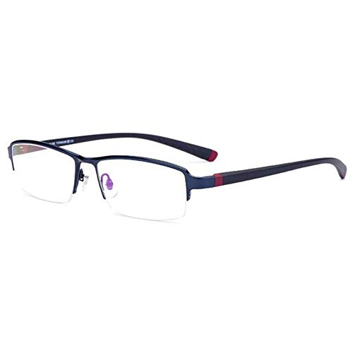 CAOXN Gafas De Lectura Anti-Luz Azul para Presbicia, Lente De Resina Multipunto Progresiva Y Montura De Titanio Puro para Presbicia Dioptría +1,00 A 3,00,Azul,+2.00