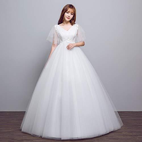 YT-RE Femmes Enceintes Robe de Mariée Mariée V-Cou Taille Haute Tulle Grossesse Robe de Mariée Ventre Grande Taille Robe de Princesse Blanche, Blanc, 5XL