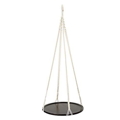 MINGMIN-DZ Dauerhaft Hanging Shelf Indoor-Betriebsaufhänger Planter Rack-Blumentopf-Halter Boho Wohnkultur Baumwolle Seil (mit Holzplatte)