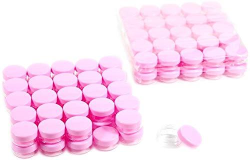 LWJ 3 Gramme Conteneurs Cosmétiques 100 pcs Échantillon Gram Conteneurs en Plastique Pots De Lotion Maquillage Conteneurs D'échantillon avec Couvercles (Rose)