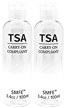 TSA Travel Bottles - 3.4 ounce / 100 ml Carry-On Compliant - Pack of 2 by SMFE