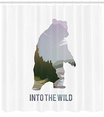 gwegvhvg Cabin Decor Duschvorhang von Wild Animals of Canada Überleben in der Wildnis Thema Jagd Camping Reise im Freien Stoff Badezimmer Dekor Set mit Multicolor