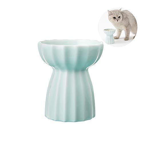 pidan 猫食器 陶器 猫ボウル スタンド フードボウル 猫 ペット食器台 しっかりで倒りにくい 上手な職人から手作られた陶器 (グリーン)