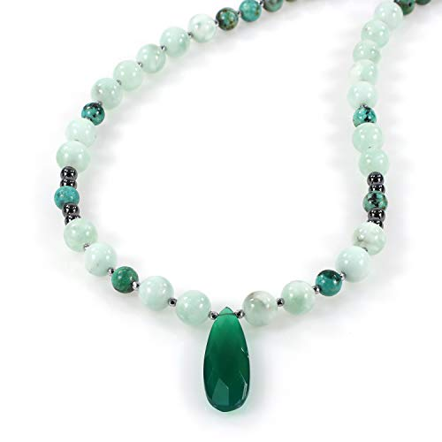 Necklace for Women Turquoise, Green Angelite, Ametrine, Green Onyx Beads Gemstone Necklace for Girls Long 925 Sterling Silver Chain for Gifts Surprises, Birthday, Anniversary, Mother's Day, Valentine