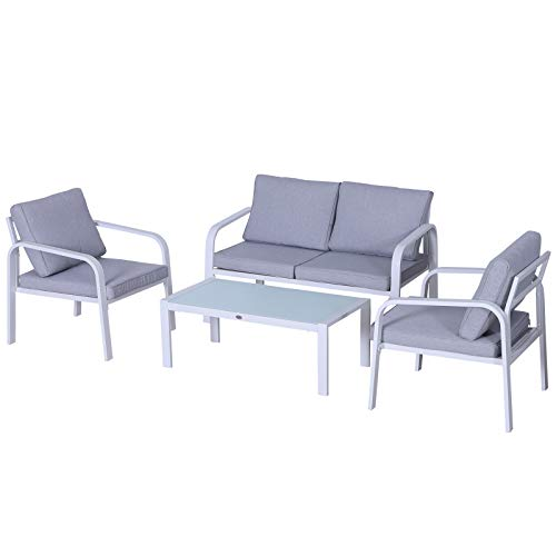Outsunny 4pcs Garden Sofa Set 2 Single Armchair, 1 Bench & 1 Coffee Table Set Aluminum Frame Patio Furniture with Cushions, White
