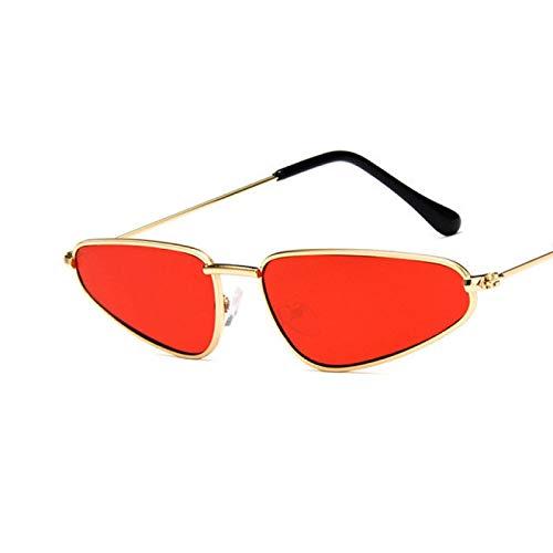 FENGHUAN Gafas de sol de espejo con marco de metal Vintage de ojo de gato para mujer, gafas de solde lente plana para mujer C4