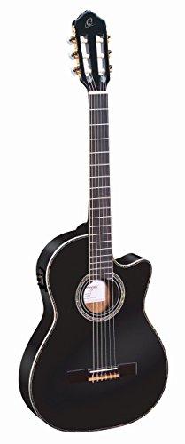 Ortega RCE145BK Konzertgitarre in 4/4 Größe Cutaway elektrifiziert schlanker 48mm Hals schwarz im hochglanz Finish mit hochwertigem Gigbag und Gurt
