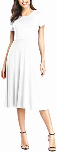 Urban CoCo Women s Short Sleeve Waisted Slim Fit Midi Dress S White product image