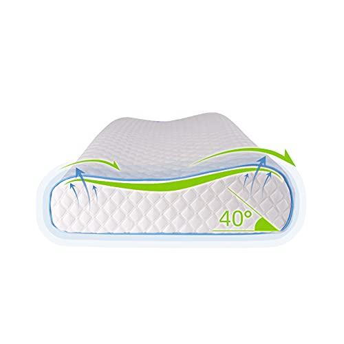 Cuscino in memory foam, rimbalzo lento, design del cuscino alto e basso, morbido e confortevole, sostiene il collo, la testa e le spalle, lenisce il rachide cervicale e gode del sonno(59*37*11.5 cm)