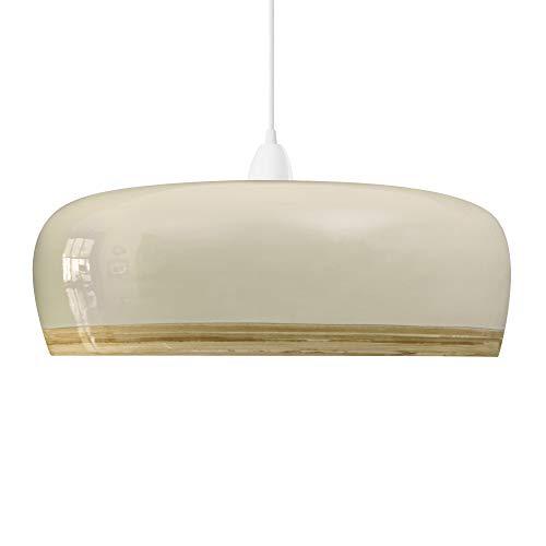 Handgemaakte Bamboe Hanger Plafondlamp met Gloss Lacquer Exterior (elektrische aansluiting niet inbegrepen) (Stijl: Plateau, Crème)