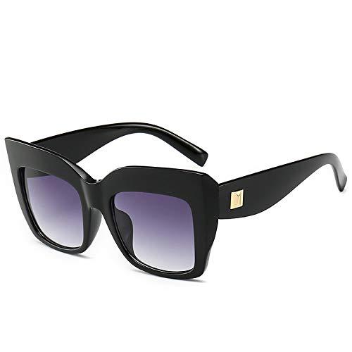 YOULIER Gafas de sol de ojo de gato de lujo para las mujeres Personalidad de gran tamaño Cateye Marco Gafas de moda tendencia gafas de sol Uv400 5554-1