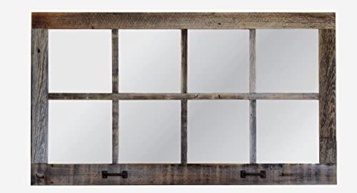 Window Pane Mirror, Large Rectangle Reclaimed Wood Wall Decor, 37.5 X 21.5 Inch Reclaimed Barn Wood Homesteader Style Decorative Old Wood Mirror   AllBarnWood Rustic Farmhouse Home Decor