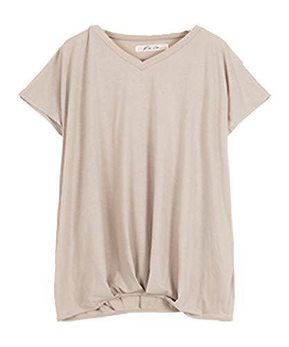 [神戸レタス] フレンチスリーブカットソートップス [C2748] M Vネックグレージュ Tシャツ レディース ゆるT 半袖 裾タック