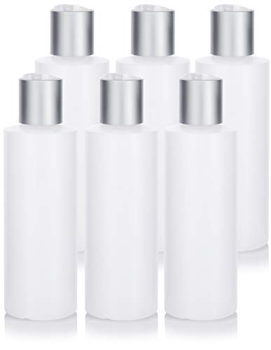 Clear Natural Refillable Plastic Squeeze Bottle with Disc Cap - 6 oz (6 Pack)