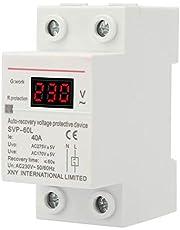 Overspanningsbeveiliging en onderspanningsbeveiliging, automatische herstel, 230 V, 40 A, met spanningsindicator en controlelampje, DIN-railbescherming.