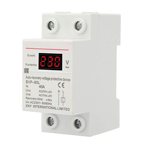 Dispositivo di Protezione da Sovratensione e Sottotensione da 230 V 40 A con Display di Tensione e Indicatore Luminoso, Supporto su Guida DIN
