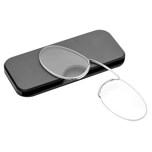 Inlefen Unisex Mini Lesebrille Pince Nez Stil Clip Nase Rest Prise Lesebrille mit Fall