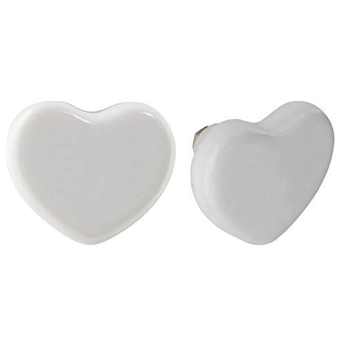 Nicola Spring Pomello per cassetto - in Ceramica con Design a Cuore - Bianco - 6 Pezzi