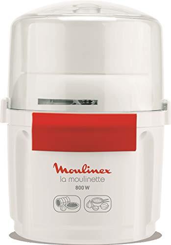 Moulinex AD5601 - Picadora la moulinette 800 w, pica, mezcla y corta, Sistema 1-2-3 uso rápido, cuchilla acero inoxidable, color blanco y rojo