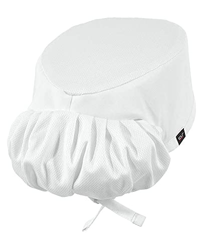 Professional Chef Skull Cap with Pony Tail Holder (One Size Fits Most, White)