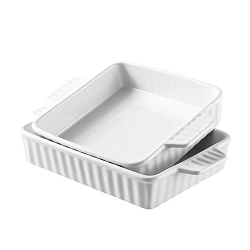 "Bruntmor Set Of 2 Rectangular Bakeware Set Ceramic Baking Pan Lasagna Pans for Baking, large 9.5""x8"" small 8""x7.5"", White"