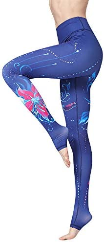 SUSIELADY Women s High Waisted Yoga Leggings Floral Printed Over The Heel Yoga Pants Workout product image