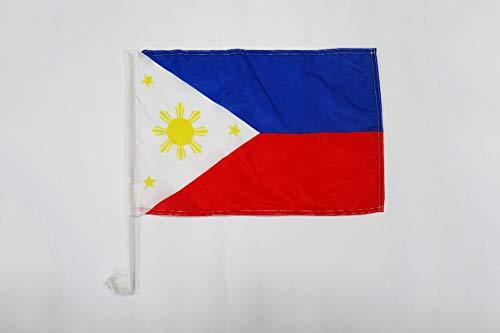AZ FLAG AUTOFAHNE Philippinen 45x30cm - PHILIPPINISCHE AUTOFLAGGE 30 x 45 cm Auto flaggen