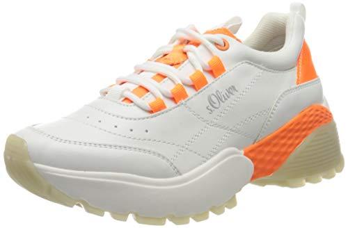 s.Oliver 5-5-23633-34, Zapatillas Mujer, Blanco (White/Orange 169), 37 EU