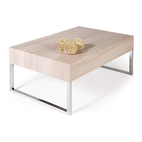 Mobilifiver Table Basse, Evo XL, Orme Perle, 90 x 60 x 40 cm, Mélaminé/Fer Chromé, Made in Italy