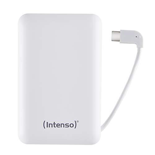 Intenso Powerbank XC10000 - Caricabatterie Portatile con Cavo USB-C Integrato (10000 mAh, Adatto per Smartphone/Tablet PC/Fotocamera Digitale), Bianco
