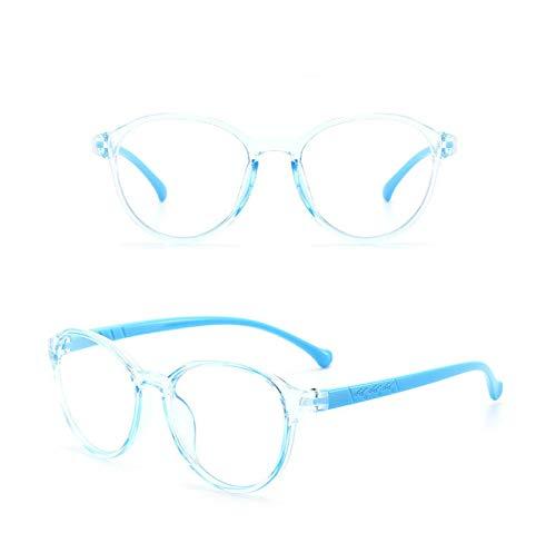 Bebé Marco Redondo Marco Luz Plana Espejo Anti-Blu-Ray Gafas Marco Niños Ordenadores De Malla Gafas - Azul