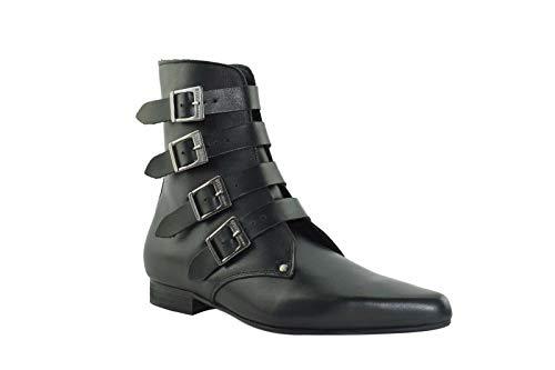 Sb021Z92.Nik Winklepicker Rock Boots mit 4 Riemen, Leder, Schwarz, Schwarz - Schwarz - Größe: 45 EU