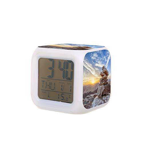 Sunset Mountain Balance Top Despertador eléctrico Luz nocturna Temporizador de siesta sueño Máquina de sonido Detectar temperatura con 7 colores de luces
