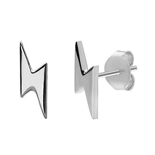Fulmine Orecchini Perno | realizzato in argento sterling 925 | in argento e oro | Cicatrice Nerd Geek Studente | by Serebra Jewelry (Argento)