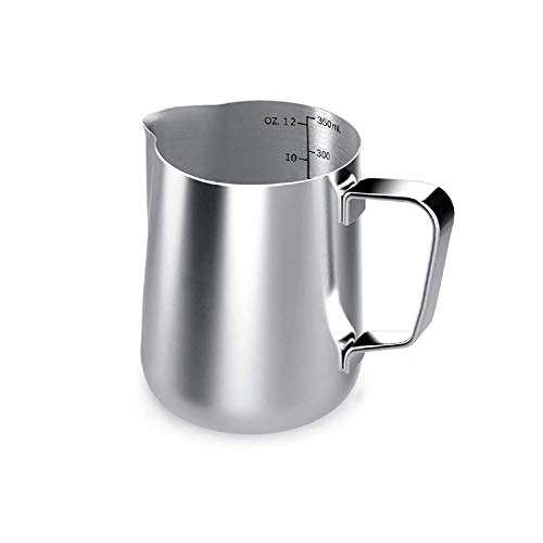 Milk Frothing Pitcher Stainless Steel Frothing Pitcher350ml/12 fl oz Stainless Steel Milk Pitcher with Measurement Mark Perfect for Cappuccino and Latte Espresso