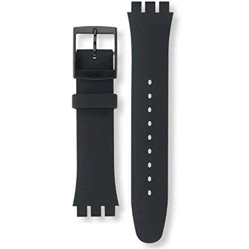 Authentic Swatch Watch Strap Silicone Black 19.5mm for Black Rebel and Black Lacquered