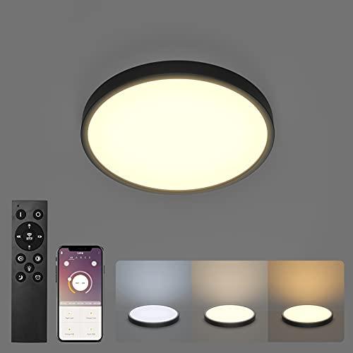 Klighten Plafon LED Techo Regulable 24W con Mando a Distancia, 2160LM Lámpara de Techo Temperatura Regulable(2700K-6500K),...