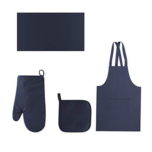 GAOFENG Delantal Cocina Cocina A Prueba De Aceite Delantal De Cintura Impermeable Delantal De Algodón Y Lino Delantal con Bolsillos(Color:Navy Blue - 4-Piece Set)