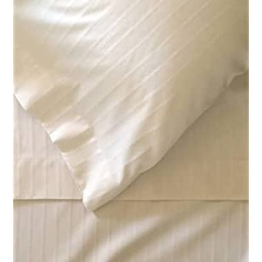 Myra Home Collection Egyptian Cotton 700 Thread Count 4PC Sheet set 15 inch Deep Pocket - Damask Ivory Stripe, King