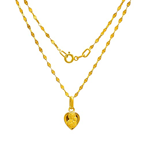 Collar de oro amarillo 333 de 8 quilates, cadena con colgante de corazón, Virgen María y Madonna, grabado para mujer, niña, niño
